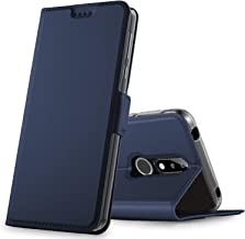 Nokia 7.1 Case, KuGi Nokia 7.1 Case Flip Case with Magnetic Closure, Ultra-Thin PU Leather Cover + TPU Back Stand Case for Samsung Nokia 7.1 Smartphone(Navy)