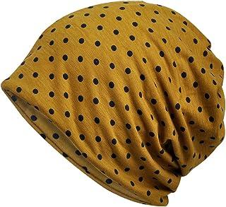 Jemis Womens Cotton Chemo Hat Beanie Scarf - Beanie Cap Bandana for Cancer (Dot Yellow)