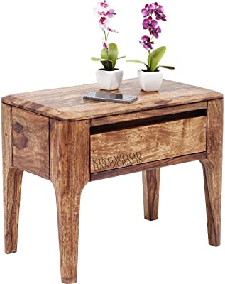 Kingwood Single Drawer Bedside Table in Sheesham Wood - Size 16 x 12 x 18 Inches (Standard, Honey)