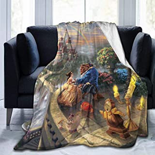 Net Method Beauty and The Beast Flannel Blanket Super Soft and Comfortable Fuzzy Luxury Warm Plush Microfiber Blanket Suitable for Bed Sofa Travel Four Seasons Blanket -50