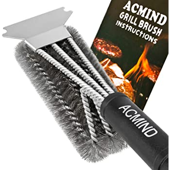"""Acmind Grill Brush and Scraper, 18"""" Best BBQ Brush Cleaner for All Grill, Safe 3 in 1 Stainless Steel Woven Wire Bristles Barbecue Cleaning Brush for Charcoal Grill, Durable & Effective"""