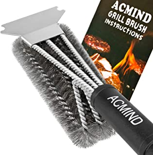 """Acmind Grill Brush and Scraper, 18"""" Best BBQ Brush Cleaner for All Grill, Safe 3 in 1 Stainless Steel Woven Wire Bristles ..."""