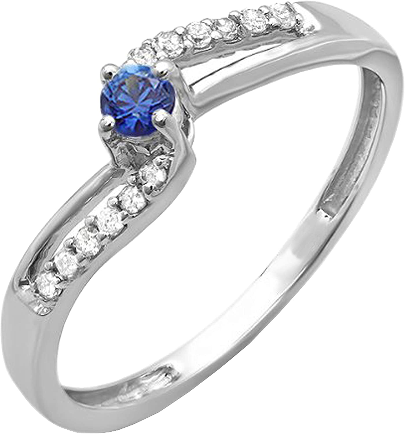 Dazzlingrock Collection 18K Blue Sapphire & White Diamond Wave Bridal Promise Engagement Ring, White Gold