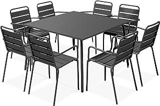 Oviala Ensemble Table et 8 fauteuils Bleu Carré 120 x 120 x 72 cm Acier 8 Places Palavas