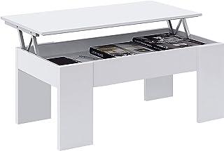 Habitdesign 001640A - Mesa de Centro elevable mesita de Comedor acabada en Color Blanco Artik Medidas: 100 cm (Largo) x ...