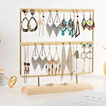 QILICHZ Gold Earring Stand Ear Stud Holder Wood Earring Holder Jewelry Holder Rack Jewelry Stand Display with Tray/Dish for Earrings Necklace Bracelet Rings 40 Holes