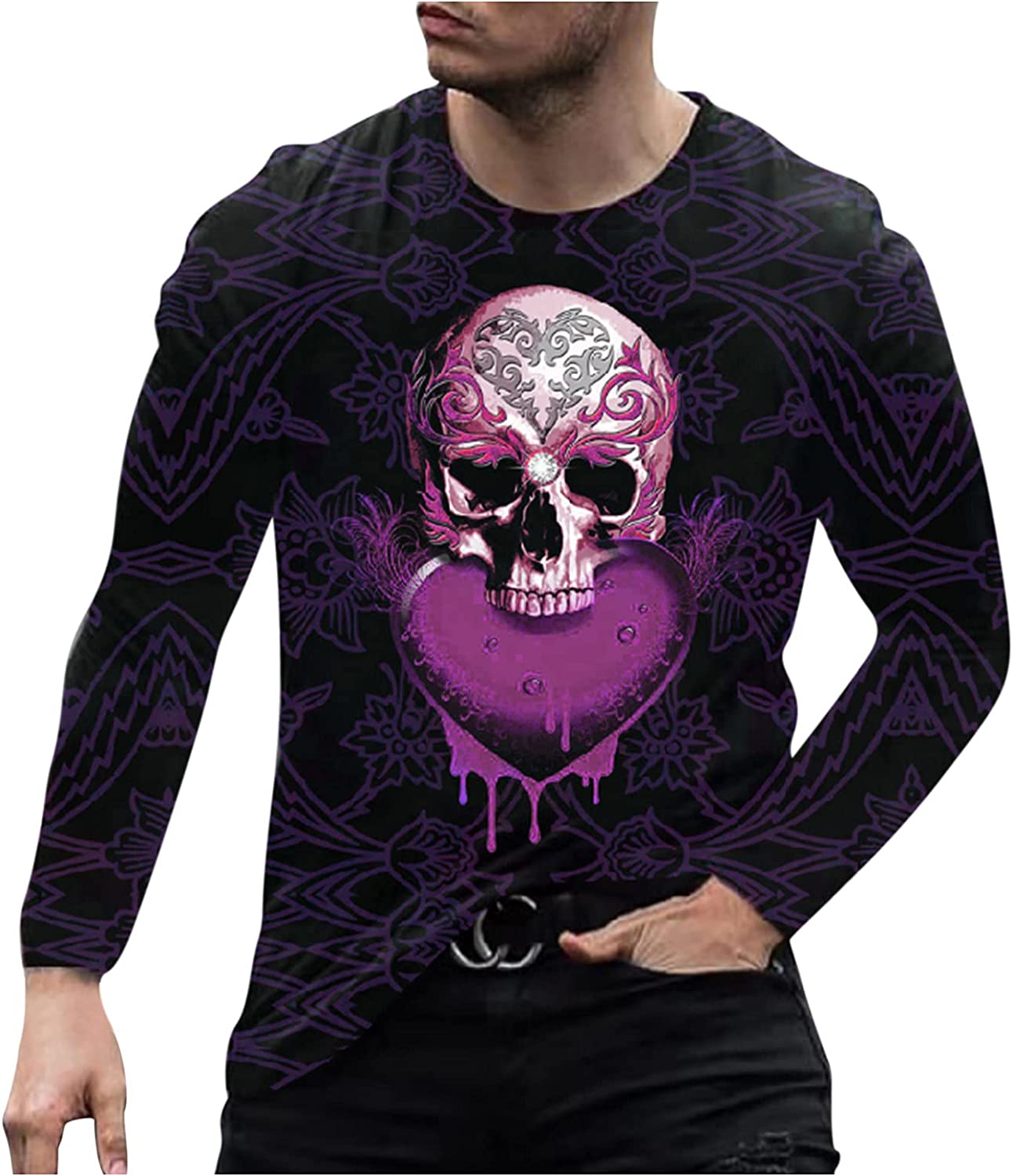 Long Sleeve Tee Shirts for Men Graphic Slim Casual O Neck Printed Outdoor T-Shirt Top Blouse to Wear with Jacket