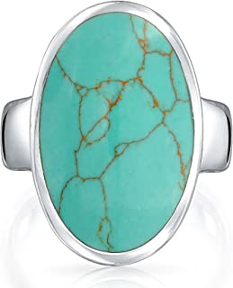 Large Oval Bezel Stabilized Turquoise Southwest Native American Style Boho Fashion Statement Ring 925 Sterling Silver