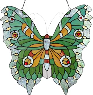 Bieye W10026 Swallowtail Mariposa Butterfly Tiffany Style Stained Glass Window Panel Hangings with Chain, 22