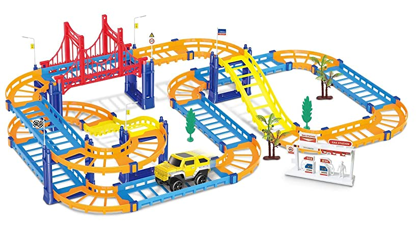 THE RAILSTYLE Children Educational Kids Electric Slot Car Railway Racing Track - 51 Pieces and one car - Goal Racing DIY Assembly Toy with Race Track and Electric Car for Boys and Girls.