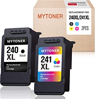 MYTONER Remanufactured Ink Cartridge Replacement for Canon 240XL 241XL PG-240 XL CL-241 XL Combo Ink for PIXMA MG3620 TS5120 MX532 MG3520 MX472 MX452 MG3220 MG2220 MG2120 MG3120 (Black, Tri-Color, 2P)