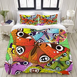 "Mokale King Size Duvet Cover,Seamless Butterfly Pattern,Decorative 3 Piece Bedding Set with 2 Pillow Shams,Zipper Closure,Ultra Soft 104"" 90"""