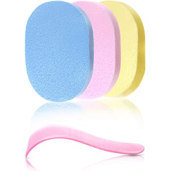 【 除毛クリーム専用 】 洗って繰り返し使える除毛サポートセット 脱毛クリーム専用ヘラ 肌に優しいボディースポンジ [3色セット] 100%PVA素材 メンズ レディース