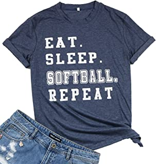 LUKYCILD Eat Sleep Softball Repeat Player T Shirt Casual Letter Print Tee for Women
