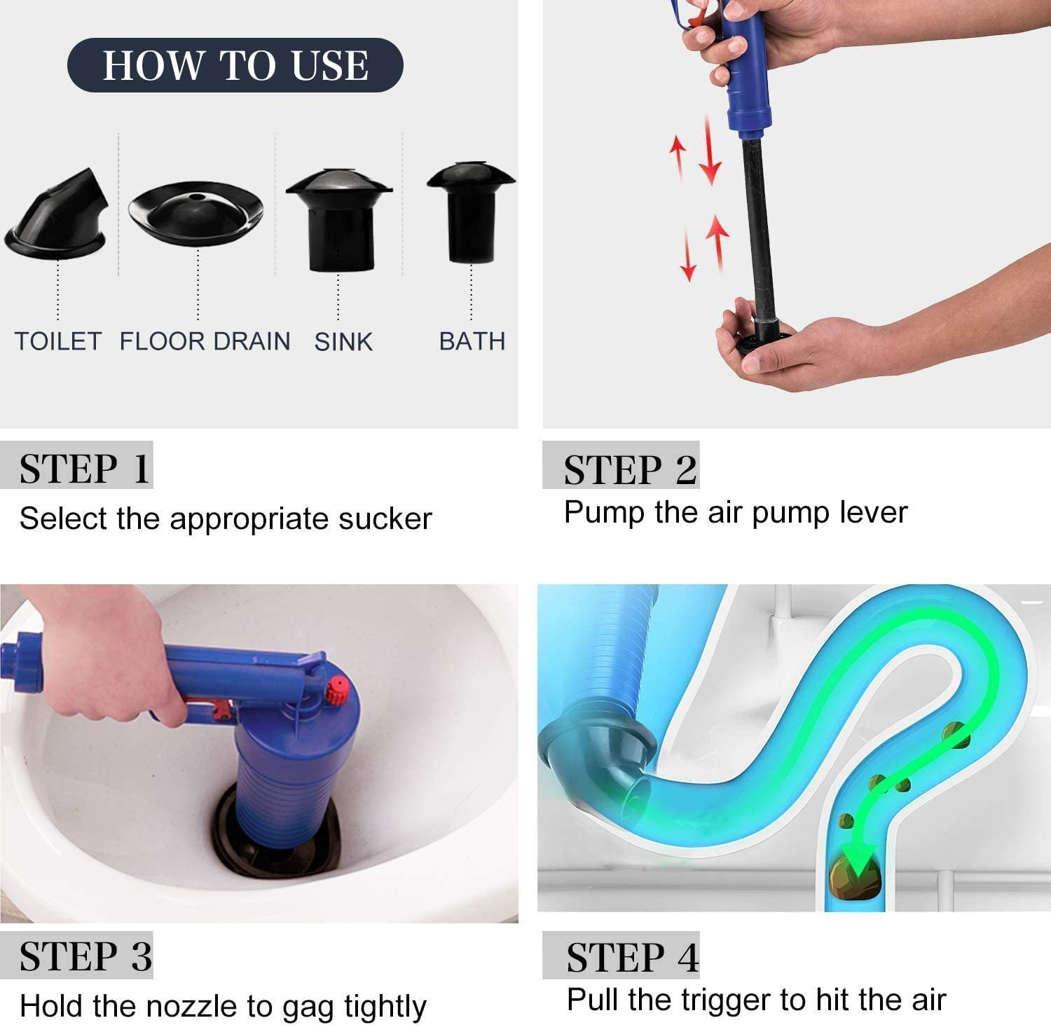 Toilet Plunger, Upgrade Air Drain Blaster, 9 New High Pressure  Pump,Drain Clog Remover Tool with 9 X Suckers for Bath/Toilet/Sink/Floor ...