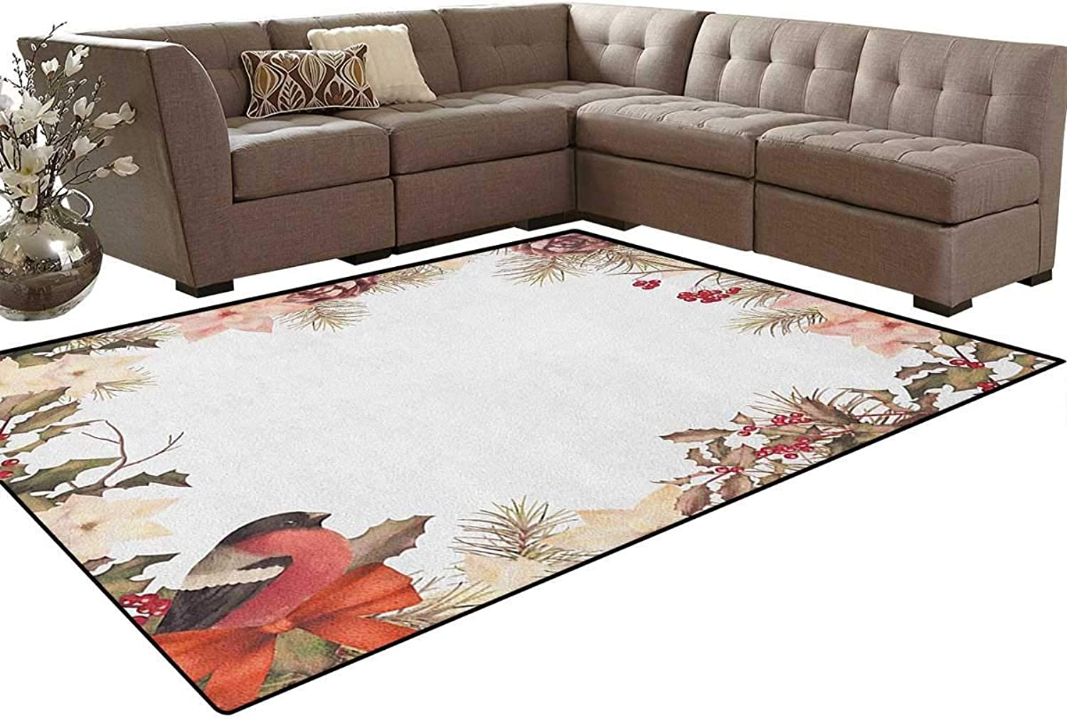 Eurasian Bullfinch Motif with Cedar Branch Holly Berries Vintage Floor Mat Rug Indoor Front Door Kitchen and Living Room Bedroom Mats Rubber Non Slip