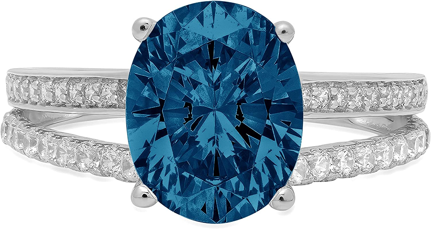 3.09ct Brilliant Oval Cut Solitaire with Accent split shank Natural London Blue Topaz Gem Stone VVS1 Designer Modern Statement Ring Solid 14k White Gold Clara Pucci