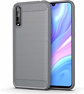 for Huawei P Smart S Case Brushed Carbon Fiber Texture Style Ultra-thin TPU Soft rubber Anti-drop Protective Cover-Grey