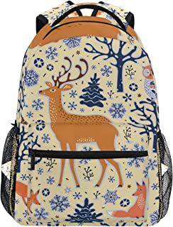 Deer Print Simple Backpack School Bags Casual Stylish Outdoor Sports Large Capacity Casual Travel Rucksack Student College Bookbag for Men Women Teenagers Side Pockets