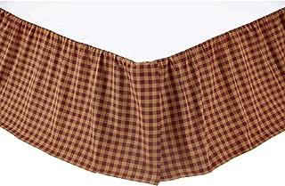 VHC Brands 9468 Burgundy Check Queen Bed Skirt 60x80x16