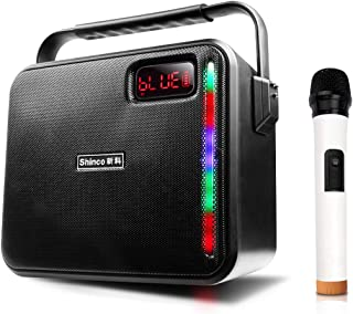 Shinco Bluetooth Pa Speaker with Wireless Mic, Portable Karaoke Machine All-in-one Pa System for Party Meeting (1 MIC)