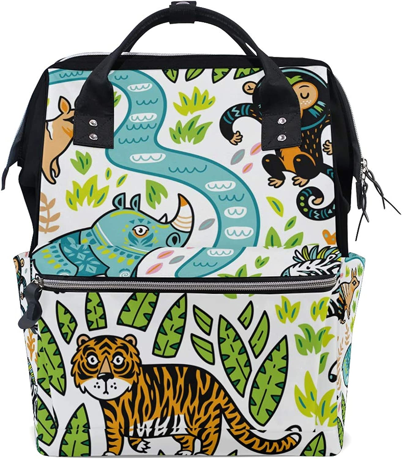ColourLife Diaper bag Backpack Forest Animals Tote Bag Casual Daypack Multifunctional Nappy Bags
