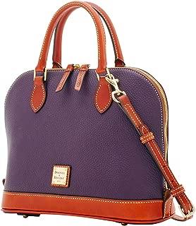 Zip Zip Satchel Pebbled Leather Shoulder Bag Purse Handbag