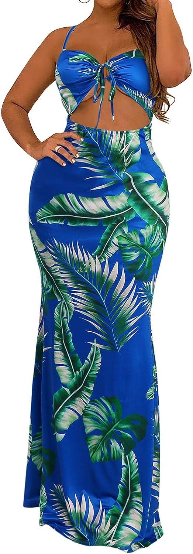 BIUBIU Women's Boho Floral Printed Beach Sleeveless Long Bikini Cover Up Dress