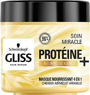 Schwarzkopf - Gliss - Masque Cheveux Soin Miracle Nourrissant 4 en 1 - Cheveux secs/abîmés - 96% d'ingrédients d'origine n...