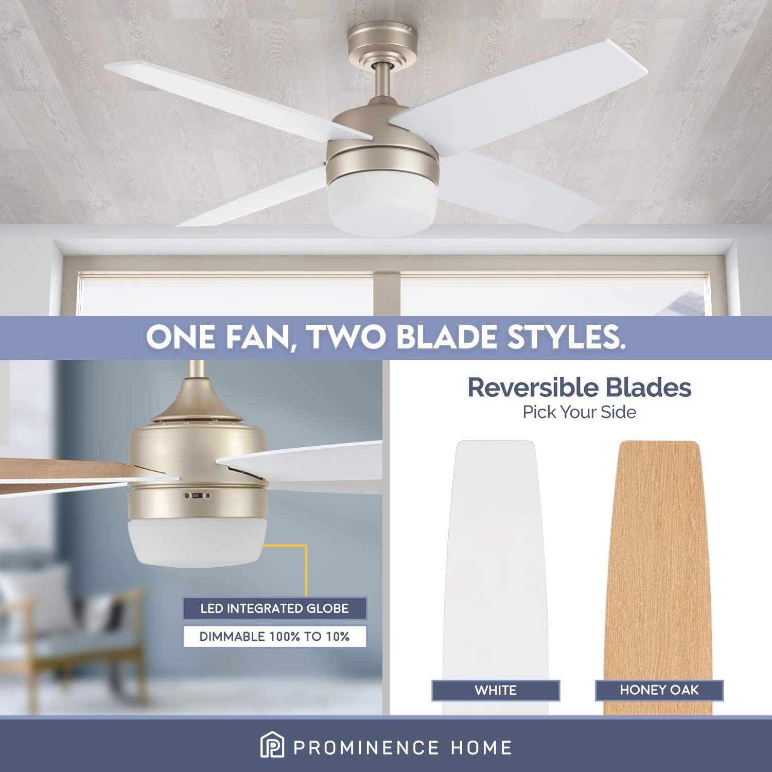Champagne Prominence Home 51470 01 Atlas Ceiling Fan 44 Tools Home Improvement Ceiling Fans Accessories Urbytus Com