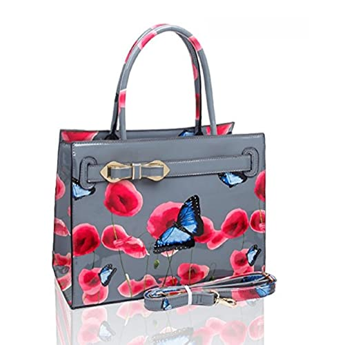 015742150bee LeahWard® Women s Patent Faux Leather Poppy Flower Bags Poppies Butterfly  Handbag Shoulder Bags For Women