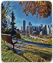 JOSENI Throw Blanket,City Autumn Park in Calgary Print,Microfiber All Season Bed Couch,60