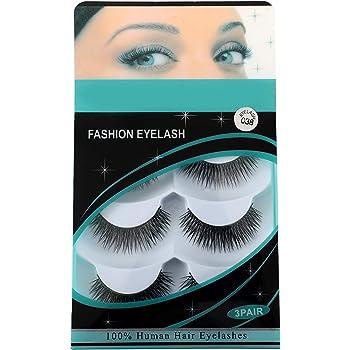 CETC 3 Pairs Black Handmade 100% Natural Thick Long False Eyelashes