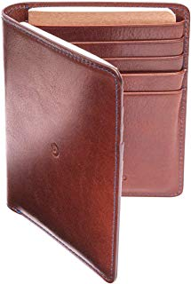 Leather Passport Wallet for Men by Danny P. (Brown/Blue)