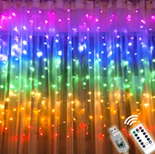 Rainbow Curtain Lights with Remote &Timer, USB Powered Twinkle LED Fairy Curtain Lights, Colorful Window Curtain String Lights for Bedroom Girls Room Unicorn Room Wall Party Christmas Décor (Rainbow)