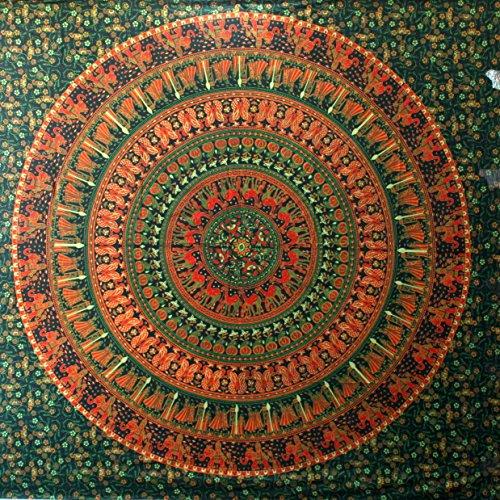 Elefant Tapisserie Hippie Tapisserie Mandala Tapisserie Wandbehang Wanddekor Home Decor (Grün)