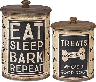 Primitives by Kathy 39369 Dog Treat Tin Canisters, 2-piece, Sleep, Bark, Repeat