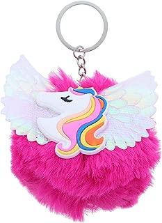 Silicone Unicorn Charm With Shiny Wings Pom Pom Keychain