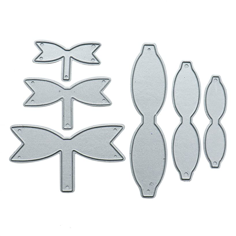 HUELE Set of 6 Dies Cut Bowknot Bows Tie 3D Dies Cutting Stencil Template Mould for DIY Scrapbook Album Paper Card