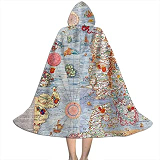 JYHFH Carta Marina Sea Monster Map Children's Hooded Shawl Cloak Draped in Halloween, Costumes, Role Playing, Etc.