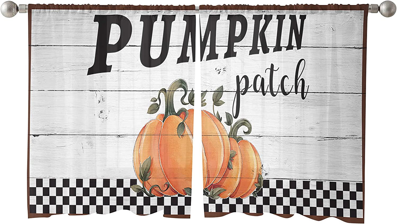 Sheer Window Curtain Panels Financial sales sale Fall Pumpkin Thanksgiving In stock Orange Pat