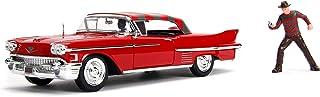 Jada Toys Hollywood Rides Nightmare on Elm's Street Freddy Krueger & 1958 Cadillac Series 62, 1:24 Red Die-Cast Vehicle with 2.75