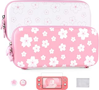 Tscope Cute Carrying Bundle Kit Case for Nintendo Switch Lite, Sweet Sakura Flowers Portable Travel Protecive Shell Storag...