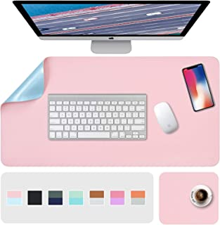 """Desk Pad, Desk Mat, Mouse Mat, XL Desk Pads Dual-Sided Pink/Blue, 31.5"""" x 15.7"""" + 8""""x11"""" PU Leather Mouse Pad 2 Pack Water..."""