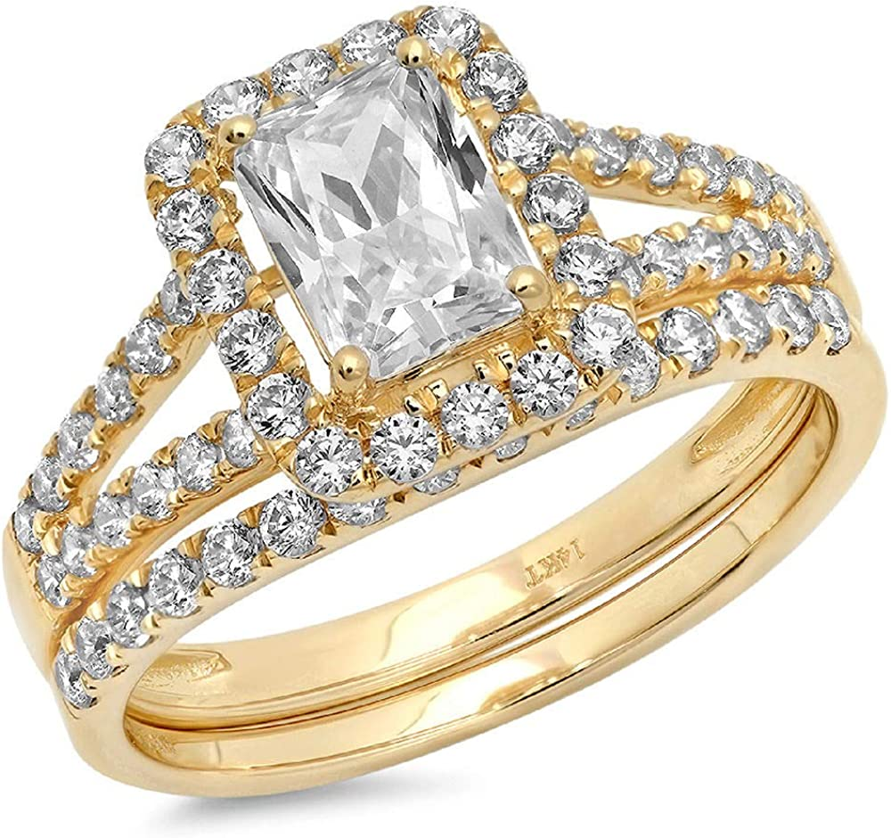 Clara Pucci 1.60ct Emerald Round Cut Pave Halo Unique Solitaire Accent Genuine Flawless Moissanite Engagement Promise Statement Anniversary Bridal Wedding Ring Band set 18K Yellow Gold