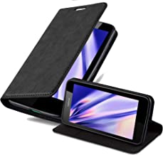 Cadorabo Case Works with Nokia Lumia 630/635 Book Case (Design Invisible Closure) – with Magnetic Closure, Stand Function and Card Slot – Wallet Case Etui Cover PU Leather NIGHT BLACK DE-108157
