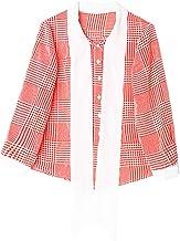 XCXDX Camisa A Cuadros Roja Y Blanca con Lazo De La Cinta Dulce De Lady, Top De Gasa Liviana, Blusa De Manga Larga