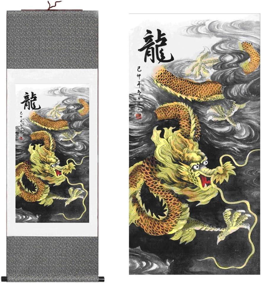 Sunmir TM Silk scroll Deluxe painting Dragon Dedication Chinese Figure
