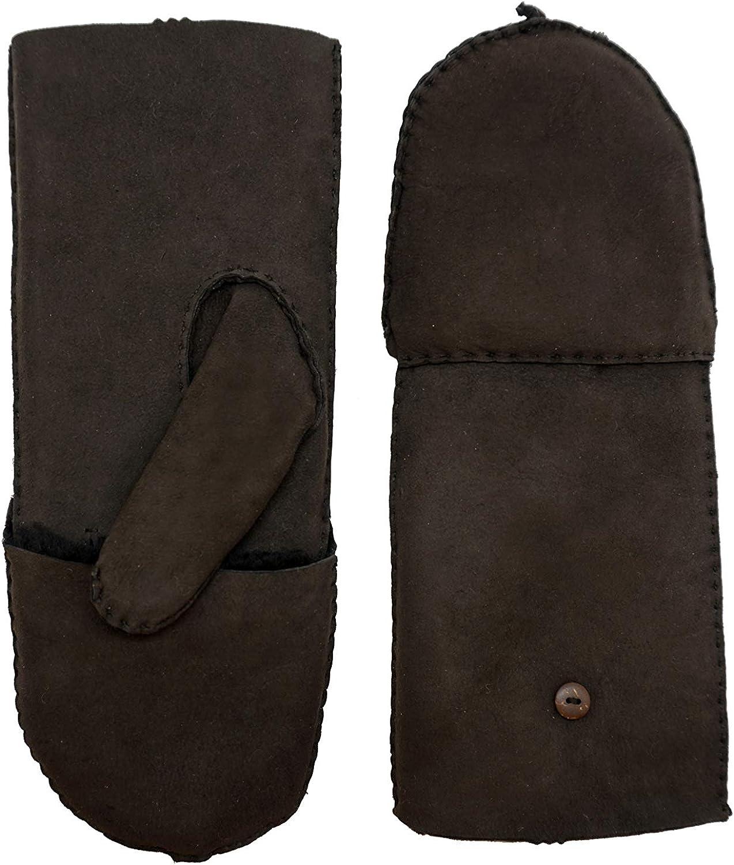 YISEVEN Women's Merino Sheepskin Winter Leather Gloves Flip Fingerless Mitten