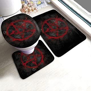 Black Red Pentagram Bathroom Rug Mats Set 3 Piece Anti-Skid Pads Bath Mat + Contour + Toilet Lid Cover